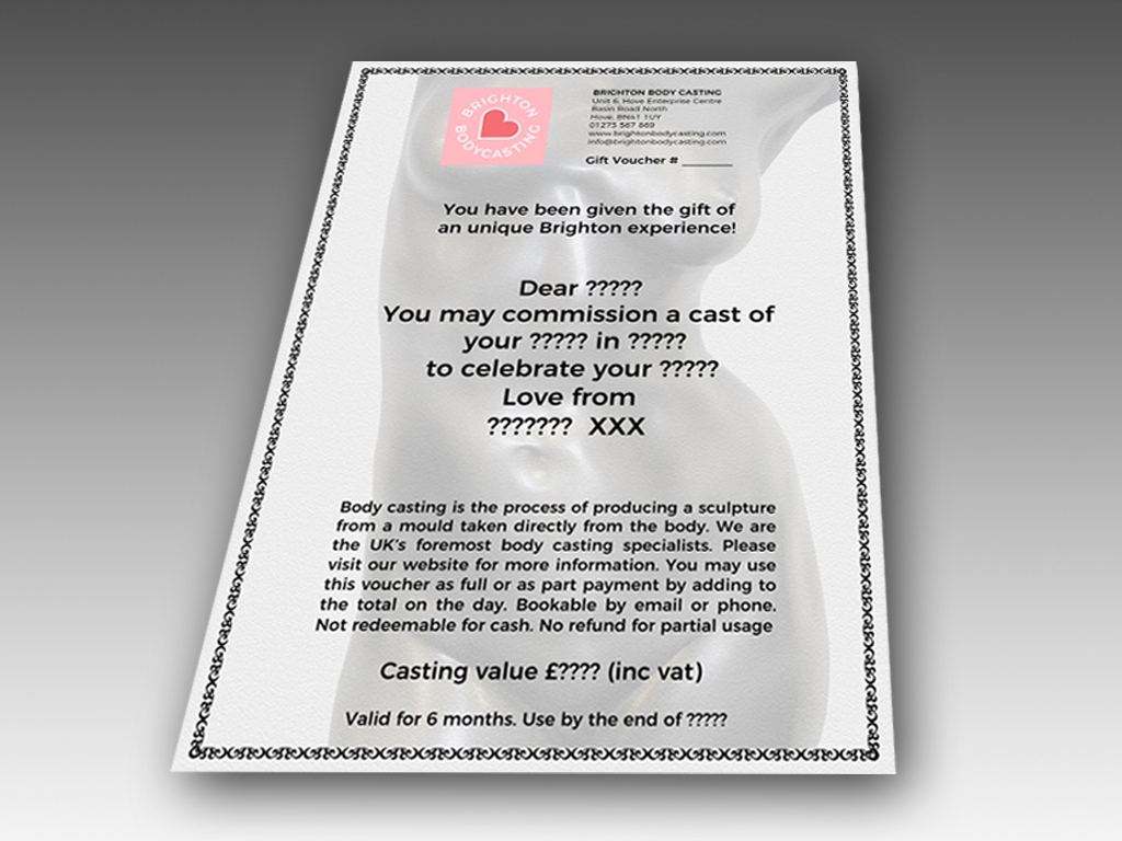 brighton body casting gift voucher