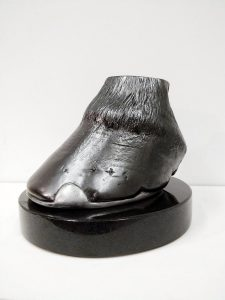 Cast of a horse's hoof on a marble base